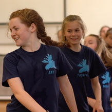 Young dancers rehearsing